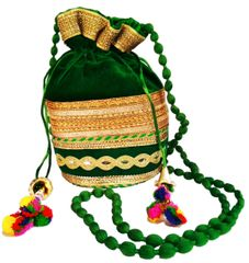 Purpledip Rich Velvet Potli Bag (Clutch, Drawstring Purse, Evening Handbag) For Women With  Heavy Gold Embroidery Work and Colorful Tassels , Green (11480)