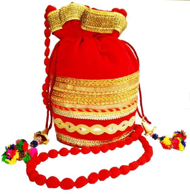 Purpledip Rich Velvet Potli Bag (Clutch, Drawstring Purse, Evening Handbag) For Women With  Heavy Gold Embroidery Work and Colorful Tassels , Red (11483 )