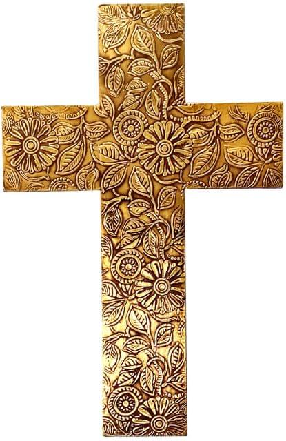 Purpledip Wooden Wall Cross 'God's Glory': Mangowood Plaque with Golden Brass Sheet Cover (11445)
