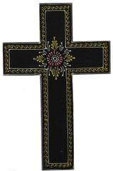 Purpledip Wooden Wall Cross 'Eternity': Handpainted Mangowood Plaque, Black (11446B)