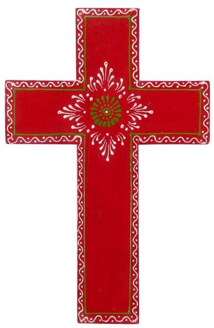Purpledip Wooden Wall Cross 'Holy Spirit': Handpainted Mangowood Plaque, Red (11446C)