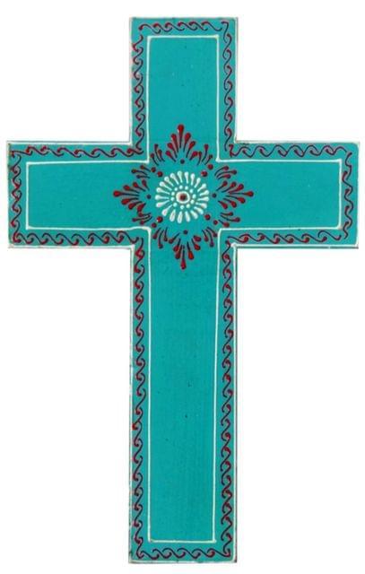 Purpledip Wooden Wall Cross 'Breath Of Life': Handpainted Mangowood Plaque, Blue (11446D)