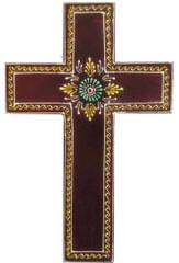 Purpledip Wooden Wall Cross 'Earth': Handpainted Mangowood Plaque, Brown (11446E)