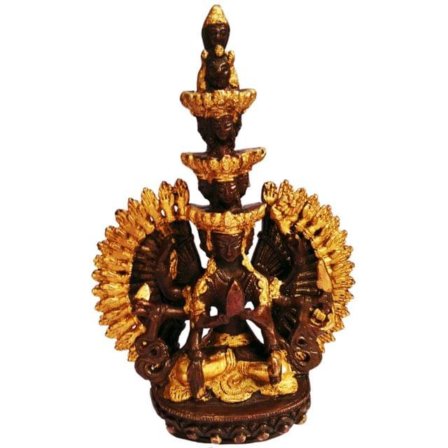 Purpledip Brass Idol Sahasrabhuja Avalokitesvara (Avalokita, Lokeshvara, or Mahakarunika): Buddhist Lord of all Realms (11449)