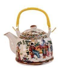 Purpledip Ceramic Fire Kettle 'Love Story': 1L Tea Pot with Steel Strainer (11472)