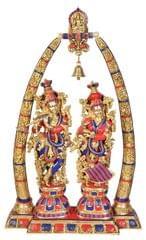 Brass Idol Radha-Krishna with Arch: Vintage Designer statue with Gemstones (10280a)