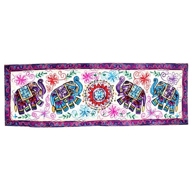 Purpledip Cotton Tapestry 'Elephant Pride': Vintage Embroidery Table Runner or Wall Hanging (11486)