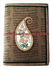 Purpledip Handmade Paper Journal 'Persian Paisley': Vintage Diary Notebook With Thread Closure (11488)