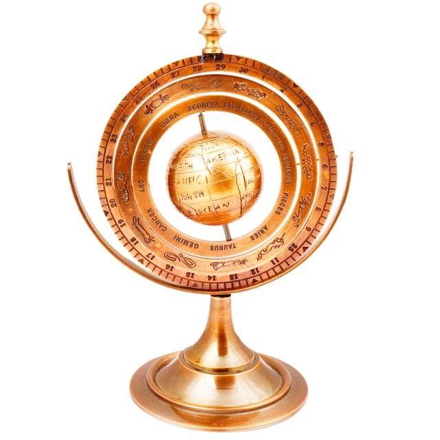 Purpledip Brass Armillary Globe with Zodiac Signs: Vintage Memorabilia (11492)