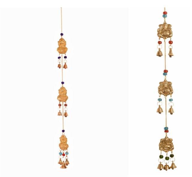 Purpledip Brass Wall Hangings Lakshmi-Ganesha (Set of 2): Good Luck Wind Chimes�(11493)