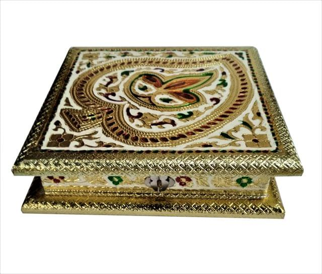 Purpledip Wooden Meenakari Box 'Divine Glow': Ideal for 500 gms Nuts, Sweets, Chocolates or Mints (11495)