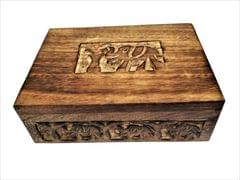 Purpledip Wooden Jewellery Box 'Elephant's Abode': Rustic Distress Finish Box, Unique Gift For Girls�(11499)