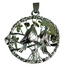Purpledip Chakra Pendant 'Love Birds': Spiritual Lucky Charm Gift (11507)