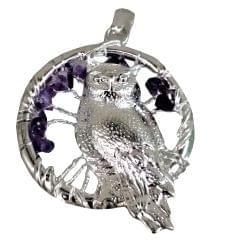 Purpledip Chakra Pendant 'Wisdom Owl': Spiritual Lucky Charm Gift (11508)