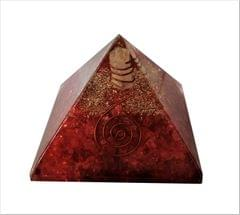 Purpledip Red Jasper Orgone Pyramid with Crystal Quartz Energy Rod: Good Luck Healing Charm, Divine Spiritual Crystal Stone  (11510)