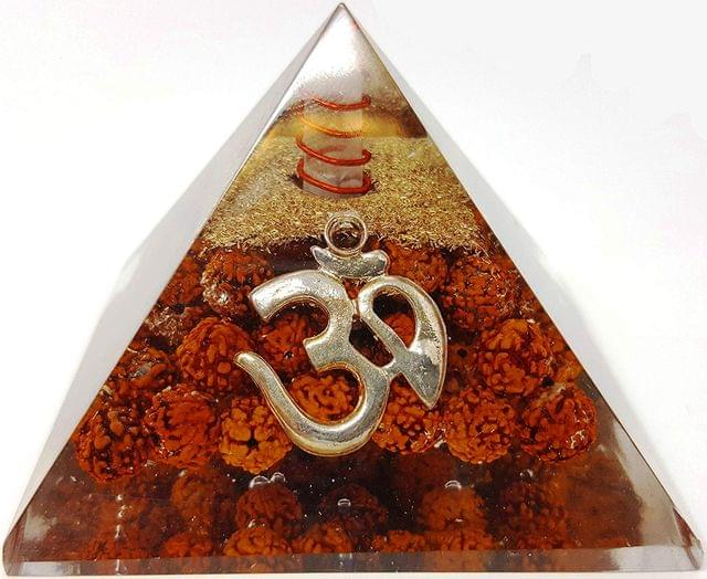Purpledip Rudraksha Om (Aum) Orgone Pyramid with Crystal Quartz Energy Points: Authentic Natural Healing Stone for Meditation & Positive Energy (11511)
