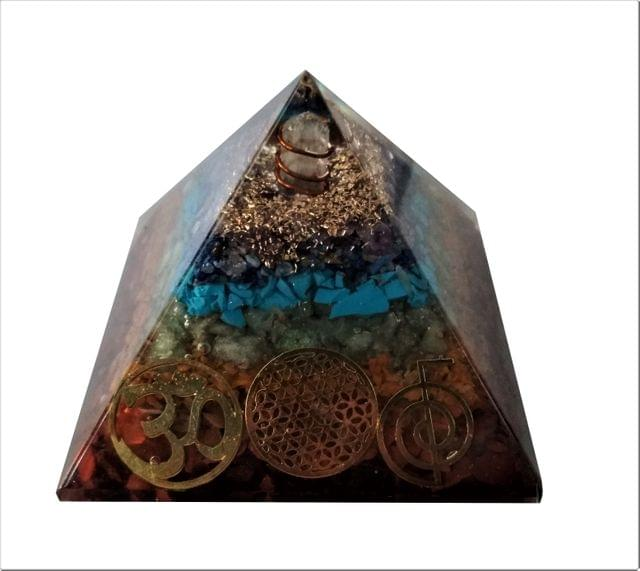 Purpledip Seven Chakra Pyramid with Reiki Symbols: Energy Field Of Amethyst, Lapis Lazuli, Green Aventurine, Camel Color Agate, Jasper Red, Red Cornelion & Copper (11513)