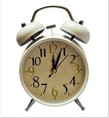 Purpledip Vintage Alarm Clock with Ringing Bells & Back Light, White (11516B)