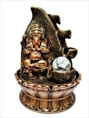 Purpledip Ganesha Fountain with Rolling Crystal Ball & Diya Waterfall: Use For Home Decor or Gifts (10519)
