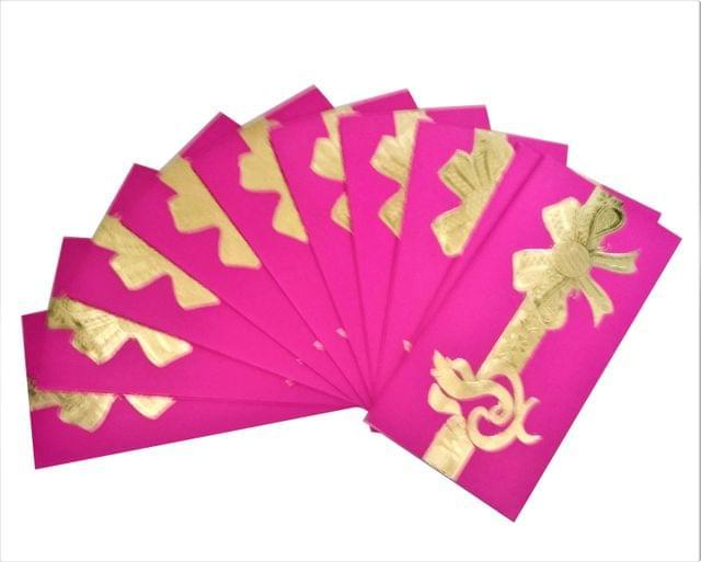 Purpledip Handmade Paper Shagun Envelopes 'Ganesha': Pack of 10 (11530)