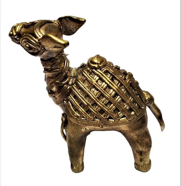 Purpledip Brass Dhokra Art Camel Statue; Vintage Gift Showpiece (11536)