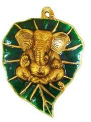 Purpledip Metal Wall Plaque Ganesha: Ganapathi Idol on Auspicious Peepal Leaf (11541)