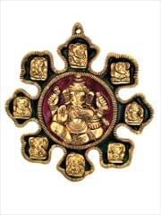 Purpledip Metal Statue Ashta-vinayak (8 Avatars of Ganesha):  Magnificent Wall Hanging Plaque (11547)