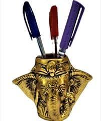 Purpledip Metal Pen Stand with Ganesha: Invoke God for Success in Work or Academics (11549)