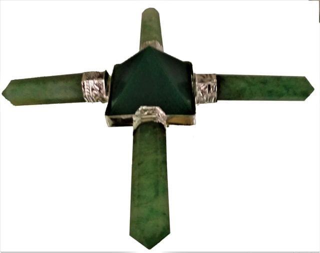 Purpledip Green Aventurine Shri Yantra: Four Arm Energy Generator (11553)