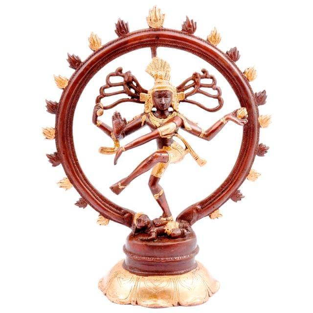 Purpledip Brass Nataraja Idol: Glorious Dancing Siva Statue in Antique Gold-Copper Design (11448)