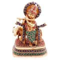 Purpledip Brass Statue Lord Krishna & Cow: Rare Idol with Glittering Semi-precious Stones | Hindu Religious Gift (11450)