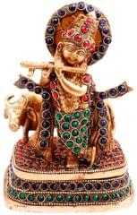 Brass Statue Lord Krishna & Cow: Rare Idol with Glittering Semi-precious Stones | Hindu Religious Gift (11450)