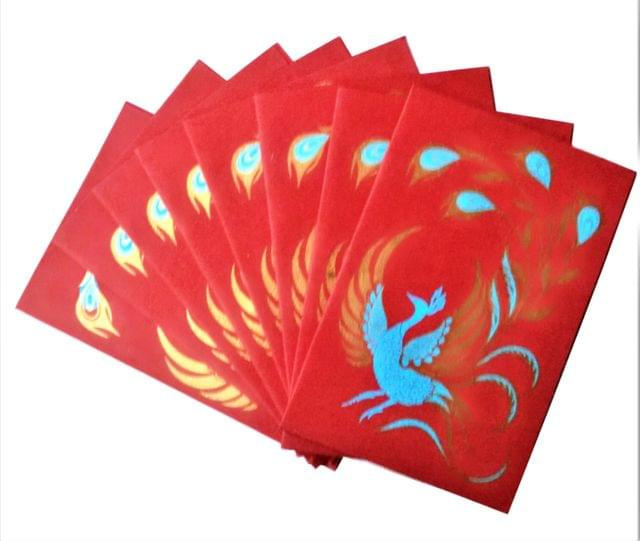 Purpledip Paper Card-Envelope Pack (Set of 10) 'Merry Peacock': Handmade Organic Paper Cards 6*4 inches for Personalized Greetings (11455)