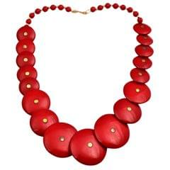 Purpledip Gypsy Necklace for Girls 'Rich Red': Chunky Beads Chain for Casual Party Wear (30138)
