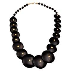 Purpledip Funky Necklace 'Black Beauty': Girl's Big Beads Chain for Casual Party Wear (30139)