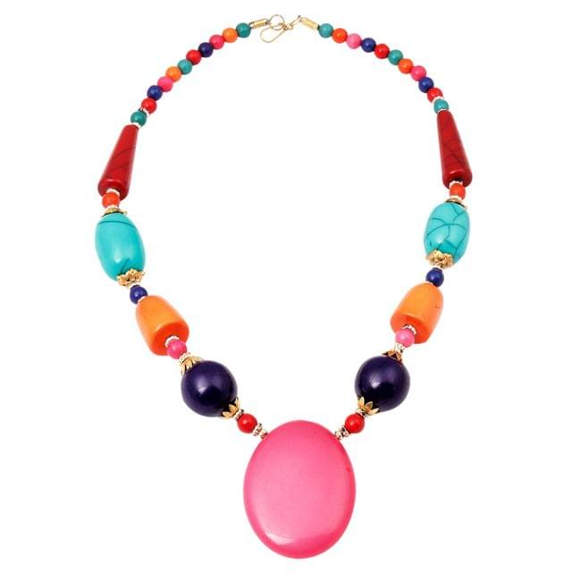 Purpledip Fashion Necklace 'Rainbow': Women's Chain with Chunky Beads for Casual Party Wear  (30140)