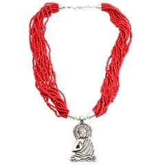 Purpledip Multistrand Beads Necklace with Buddha Locket: Glowing Red (30142)
