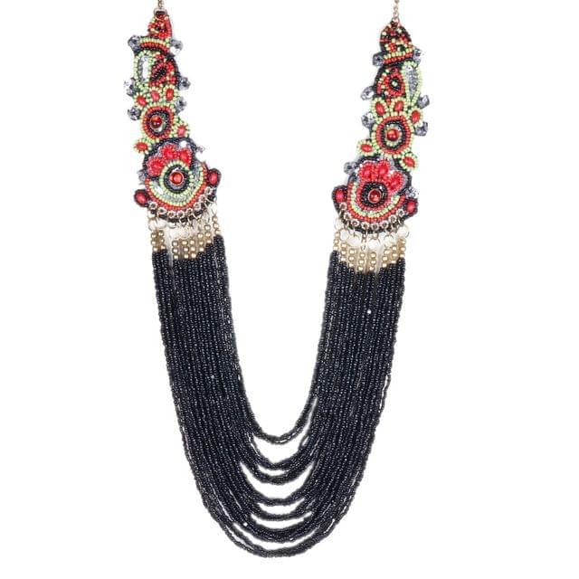 Purpledip Necklace 'Black Beauty' with Beads & Colorful Sequined Edges: Unique Statement Piece (30145)
