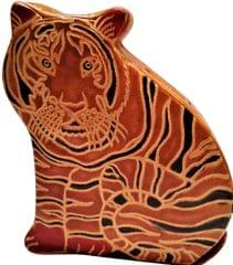 Leather Money Bank Coin Box 'Tiger Cub': Cruelty Free Shantiniketan Leather Piggy Bank (11558)