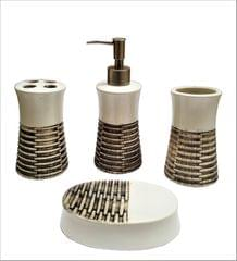 Ceramic Bathroom 4-piece Set 'Royal Collection': Soap Dish, Liquid Dispenser, Glass, Toothbrush Holder (11563A)