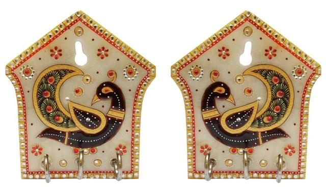 Marble Key Hooks 'Dancing Peacocks' (Set of 2): Unique Indian Wall Decor Souvenir (11565)