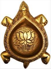 Brass Tortoise Diya: Holy Oil Lamp Deepam; Feng Shui Vastu Good Luck Light (11570)