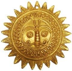 Brass Idol Sun God: Surya Devta Wall Hanging for Ever-shining Light (11571)