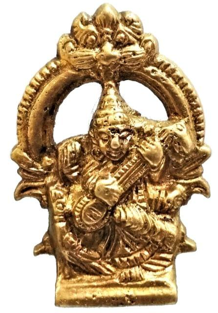 Brass Idol Saraswathi: Hindu Goddess Of Knowledge, Music & Art (11572)