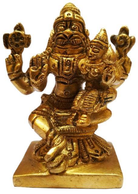 Brass Idol Narasimha Lakshmi: Vishnu Laxmi Statue for Home Temple (11581)