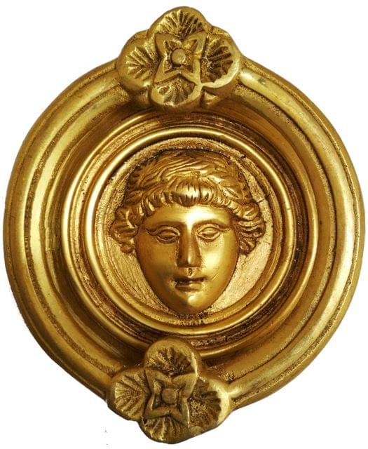 Brass Door Knocker: Antique Roman King Gate Handle (11594)