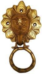 Brass Door Knocker: Antique Wild Wolf Design Gate Handle (11596)