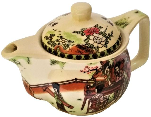 Painted Ceramic Kettle 'Garden Picnic': Small 350 ml Tea Coffee Pot, Steel Strainer Included (11608)