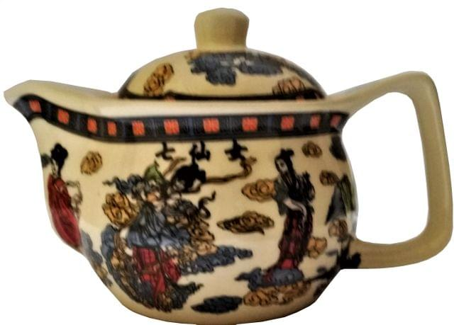 Painted Ceramic Kettle 'Orient Grace': Small 350 ml Tea Coffee Pot, Steel Strainer Included (11608)