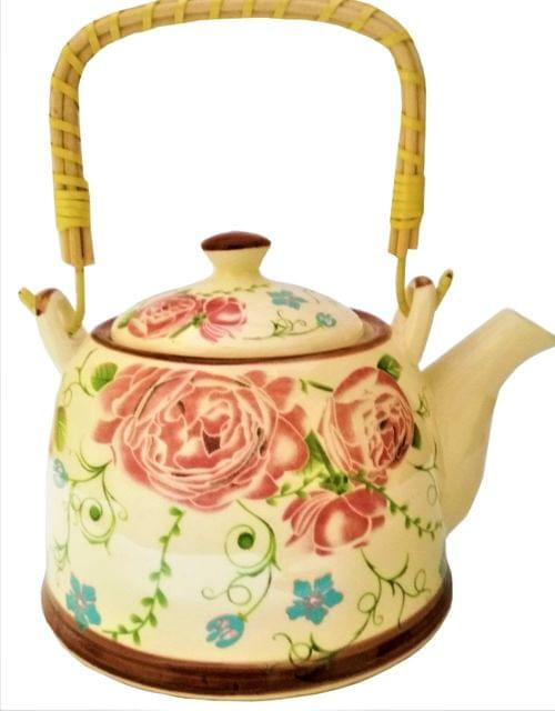 Ceramic Kettle 'Forest Bloom': 850 ml Tea Coffee Pot, Steel Strainer Included (11611)